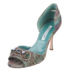 Manolo Blahnik Turquoise/Teal Blue D'Orsay Sandals